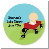 Little Red Wagon - Round Personalized Baby Shower Sticker Labels