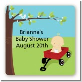 Little Red Wagon - Square Personalized Baby Shower Sticker Labels