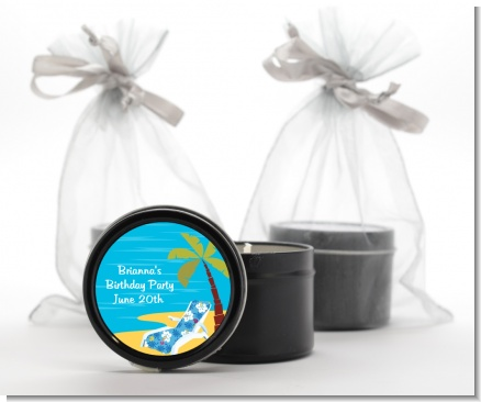 Luau - Birthday Party Black Candle Tin Favors
