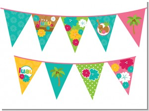 Luau - Baby Shower Themed Pennant Set