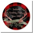 Lumberjack Buffalo Plaid - Round Personalized Birthday Party Sticker Labels thumbnail