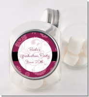 Maroon Floral - Personalized Graduation Party Candy Jar