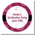 Maroon Floral - Round Personalized Graduation Party Sticker Labels thumbnail