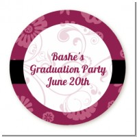 Maroon Floral - Round Personalized Graduation Party Sticker Labels