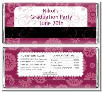 Maroon Floral - Personalized Graduation Party Candy Bar Wrappers