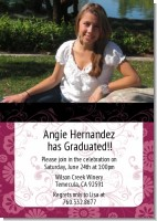 Maroon Floral - Graduation Party Invitations