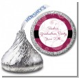 Maroon Floral - Hershey Kiss Graduation Party Sticker Labels thumbnail