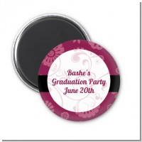 Maroon Floral - Personalized Graduation Party Magnet Favors