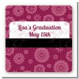 Maroon Floral - Square Personalized Graduation Party Sticker Labels thumbnail
