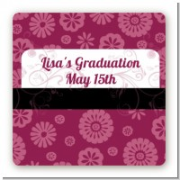 Maroon Floral - Square Personalized Graduation Party Sticker Labels