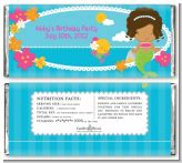 Mermaid African American - Personalized Birthday Party Candy Bar Wrappers