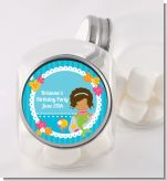 Mermaid African American - Personalized Birthday Party Candy Jar