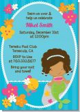 Mermaid African American - Birthday Party Invitations