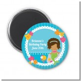 Mermaid African American - Personalized Birthday Party Magnet Favors
