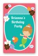 Mermaid Brown Hair - Custom Large Rectangle Birthday Party Sticker/Labels thumbnail