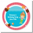 Mermaid Brown Hair - Round Personalized Birthday Party Sticker Labels thumbnail