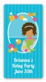 Mermaid African American - Custom Rectangle Birthday Party Sticker/Labels