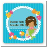 Mermaid African American - Square Personalized Birthday Party Sticker Labels