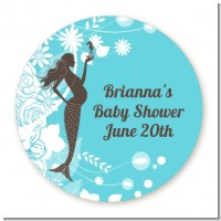 Mermaid Pregnant - Round Personalized Baby Shower Sticker Labels