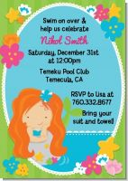 Mermaid Red Hair - Birthday Party Invitations