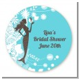 Mermaid - Round Personalized Bridal Shower Sticker Labels thumbnail