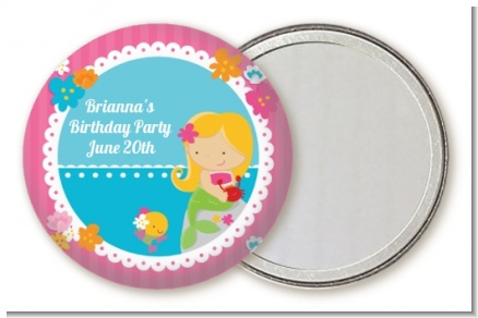 Mermaid Blonde Hair - Personalized Birthday Party Pocket Mirror Favors