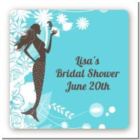 Mermaid - Square Personalized Bridal Shower Sticker Labels