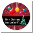 Merry and Bright - Round Personalized Christmas Sticker Labels thumbnail