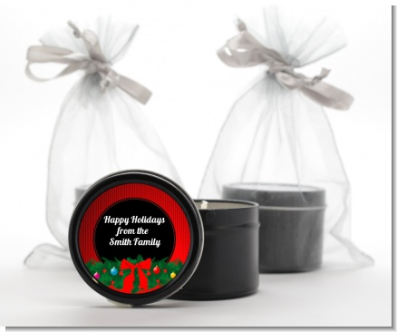 Merry Christmas Wreath - Christmas Black Candle Tin Favors