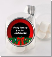 Merry Christmas Wreath - Personalized Christmas Candy Jar