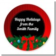 Merry Christmas Wreath - Round Personalized Christmas Sticker Labels thumbnail