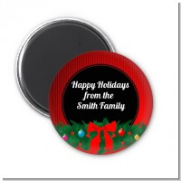 Merry Christmas Wreath - Personalized Christmas Magnet Favors