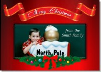 Merry Christmas Wreath - Personalized Photo Christmas Cards