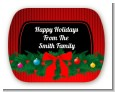 Merry Christmas Wreath - Personalized Christmas Rounded Corner Stickers thumbnail