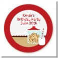 Milk & Cookies - Round Personalized Birthday Party Sticker Labels thumbnail