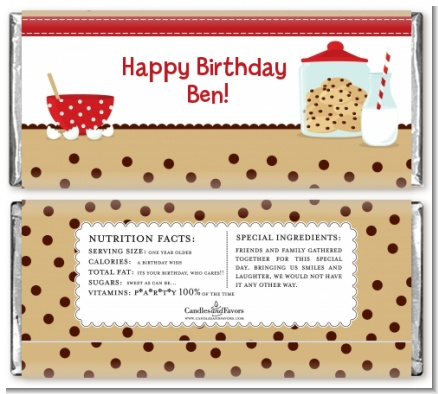 Milk & Cookies - Personalized Birthday Party Candy Bar Wrappers