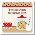 Milk & Cookies - Square Personalized Birthday Party Sticker Labels thumbnail