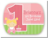 1st Birthday Girl - Personalized Birthday Party Rounded Corner Stickers