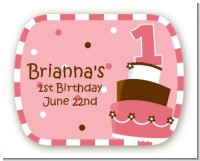 1st Birthday Topsy Turvy Pink Cake - Personalized Birthday Party Rounded Corner Stickers