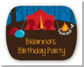 Camping - Personalized Birthday Party Rounded Corner Stickers