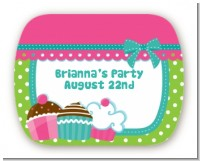 Cupcake Trio - Personalized Birthday Party Rounded Corner Stickers