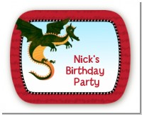 Dragon and Vikings - Personalized Birthday Party Rounded Corner Stickers