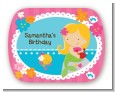 Mermaid Blonde Hair - Personalized Birthday Party Rounded Corner Stickers thumbnail