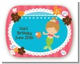 Mermaid Brown Hair - Personalized Birthday Party Rounded Corner Stickers thumbnail