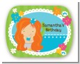 Mermaid Red Hair - Personalized Birthday Party Rounded Corner Stickers thumbnail