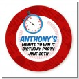 Minute To Win It Inspired - Round Personalized Birthday Party Sticker Labels thumbnail