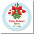 Mistletoe - Round Personalized Christmas Sticker Labels thumbnail