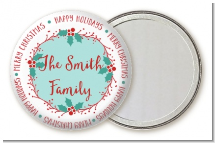 Mistletoe Wreath - Personalized Christmas Pocket Mirror Favors