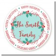 Mistletoe Wreath - Round Personalized Christmas Sticker Labels thumbnail