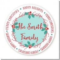 Mistletoe Wreath - Round Personalized Christmas Sticker Labels